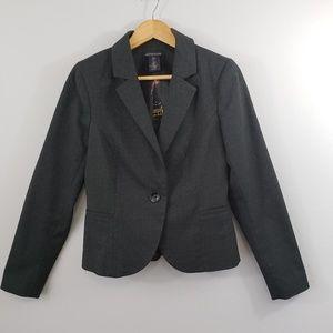British Khaki Plaid Charcoal Blazer Medium